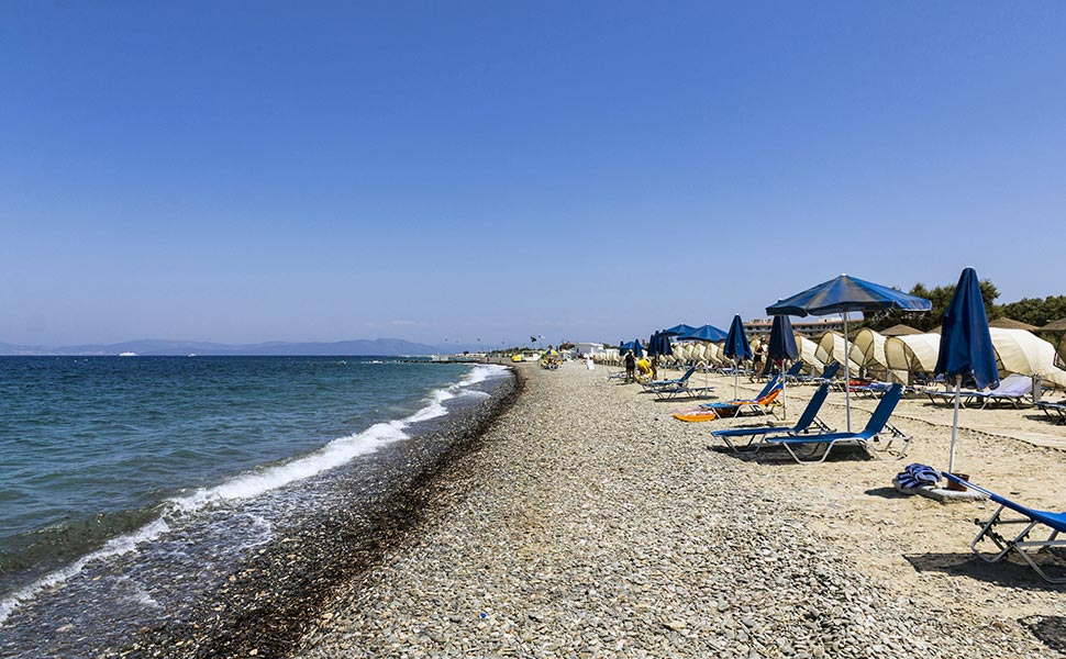pebbly beach in Psalidi near kos town