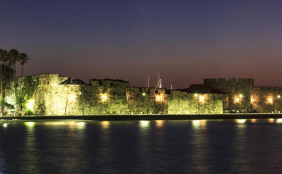 Neratzia Castle in Kos town - night view