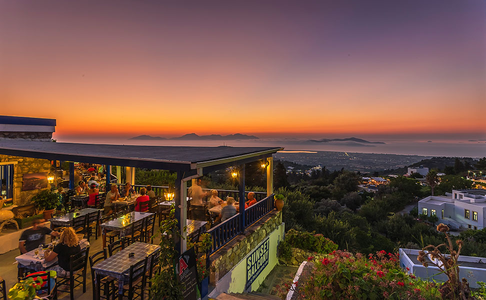 Sunset Balcony Taverna Zia Village Kos Kos4all Com